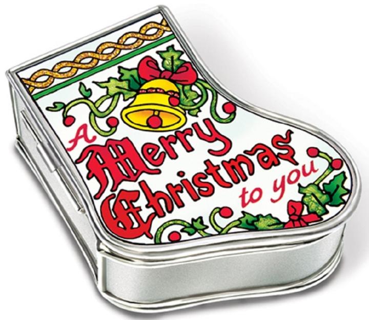 Amia 5899 Merry Christmas Stocking Jewelry Box