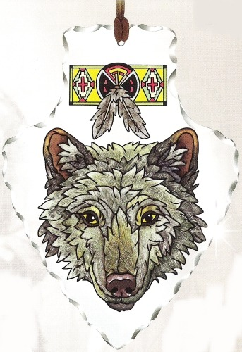 Amia 5992 Wolf Large Arrowhead Suncatcher