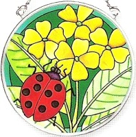 Amia 6140 Green Garden Ladybug Small Circle Suncatcher