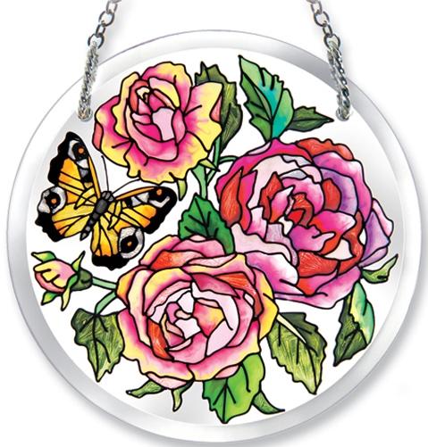 Amia 6186 Rose Beveled Medium Circle Suncatcher