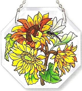 Amia 6192 Sunflowers Small Beveled Octagon Suncatcher