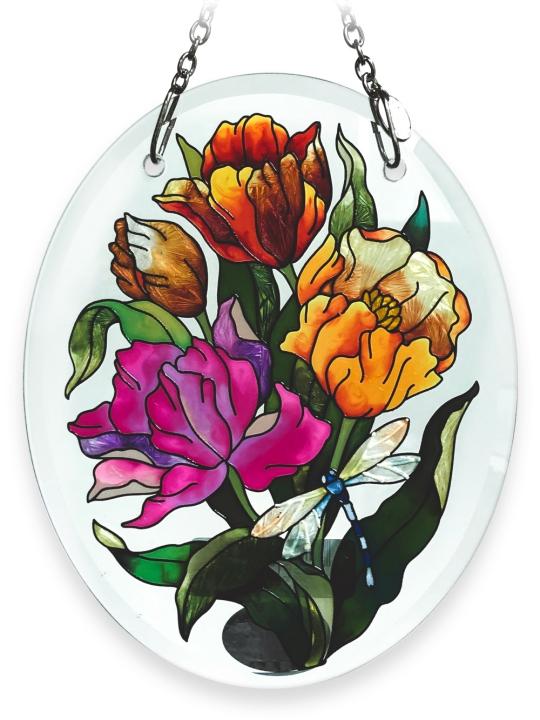 Amia 6194 Tulips Beveled Small Oval Suncatcher