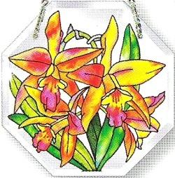 Amia 6199 Orchids Beveled Small Octagon Suncatcher