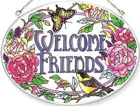Amia 6239 Welcome Friends Medium Oval Suncatcher