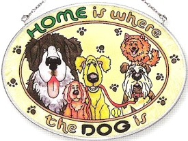 Amia 6242 Home Is Where The Dog Is Medium Oval Suncatcher