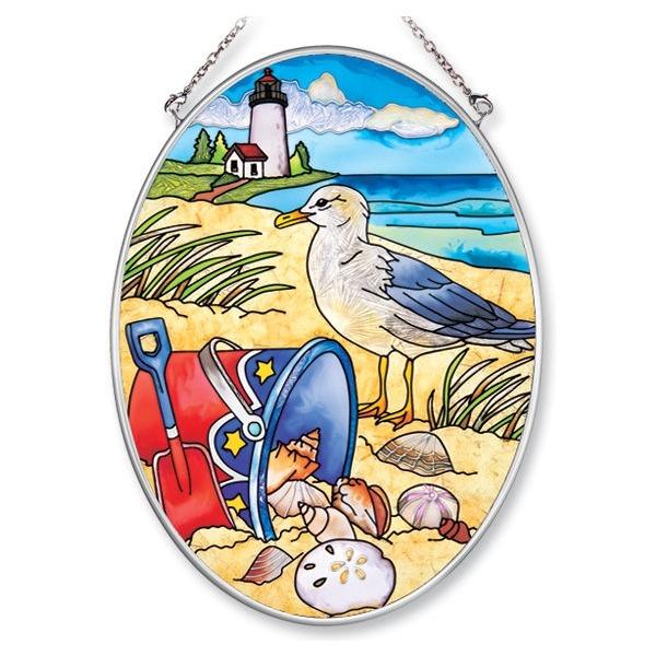 Cyber Monday Sale 6246 AMIA 6246 A Day At The Beach Medium Oval Suncatcher