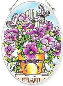Amia 6250 Viola Garden Medium Oval Suncatcher