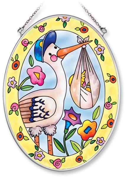 Amia 6263 Stork and Baby Bundle Medium Oval Suncatcher