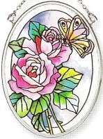 Amia 6296 Butterfly With Roses Small Oval Suncatcher
