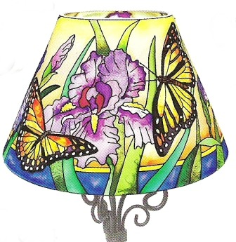 Amia 6304 Iris and Butterflies Candle Lamp Shade Only