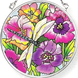 Amia 6387 Fancy Pansies Small Circle Suncatcher