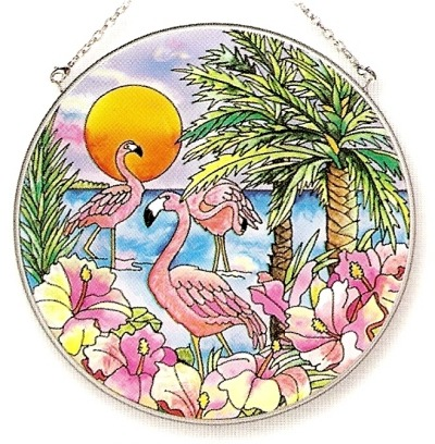 Amia 6413 Flamingo Bay Large Circle Suncatcher