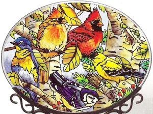 Amia 6434 Songbirds Medium Oval Suncatcher