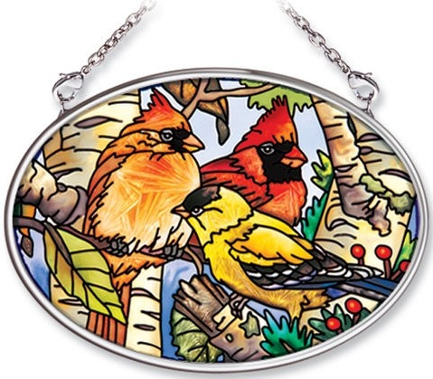 Amia 6435 Songbirds Small Oval Suncatcher