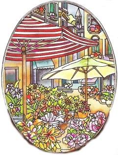 Amia 6439 The Flower Market Large Oval Suncatcher