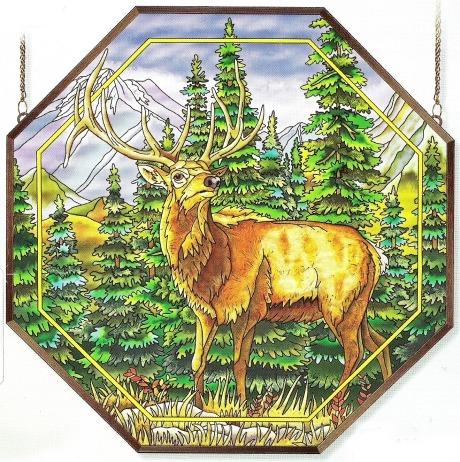 Amia 6476 Meadows Edge Elk Octagon Panel