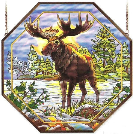 Amia 6489 Northwoods Moose Large Octagon Panel