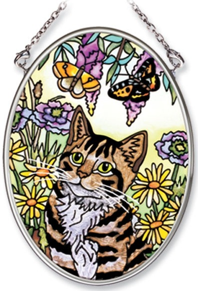 Amia 6540 Cat With Butterflies Small Oval Suncatcher