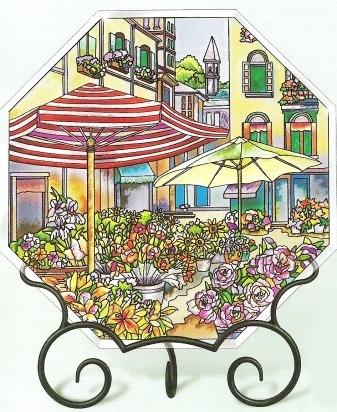 Amia 6607 The Flower Market Beveled Small Octagon Suncatcher