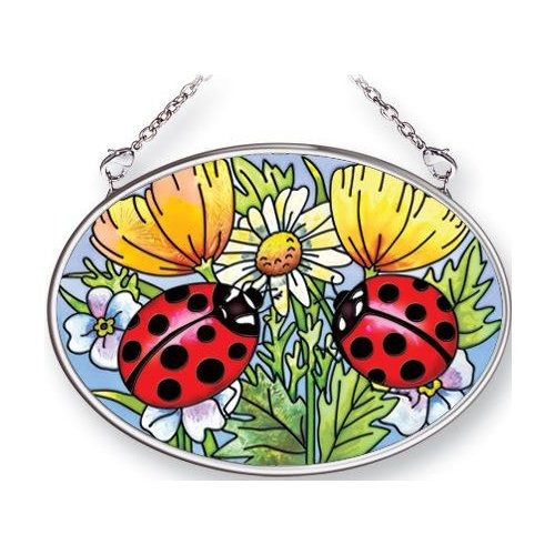 Amia 6681 Ladybugs & Flowers Small Oval Suncatcher