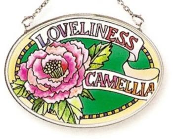 Amia 6772 Camellia Loveliness Small Oval Suncatcher