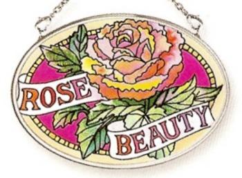 Amia 6773 Rose Beauty Small Oval Suncatcher