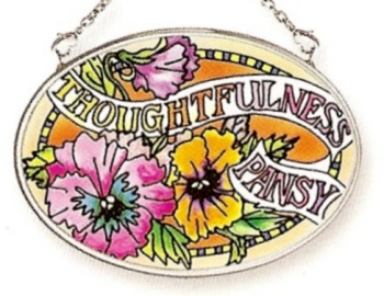 Amia 6774 Pansy Thoughtfulness Small Oval Suncatcher