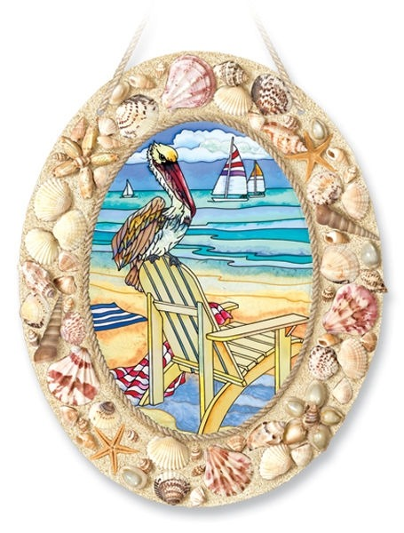 Amia 6915 Pelican's Perch Shells Large Oval Suncatcher