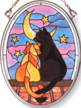Amia 7085 Moon Cat Small Oval Suncatcher