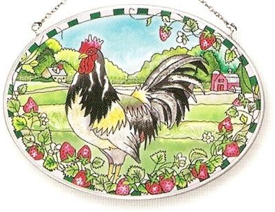 Amia 7108 Rooster Strawberry Medium Oval Suncatcher