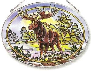 Amia 7117 Northwoods Moose Large Oval Suncatcher