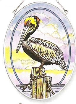 Amia 7155 Pelican Medium Oval Suncatcher