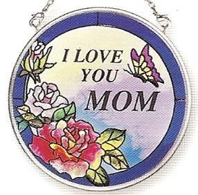 Amia 7156 I Love You Mom Small Circle Suncatcher