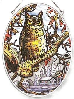 Amia 7157 Midnight Owl Medium Oval Suncatcher