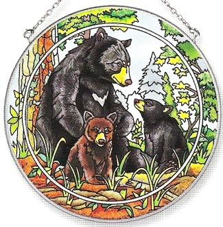 Amia 7163 Bear Family Large Circle Suncatcher