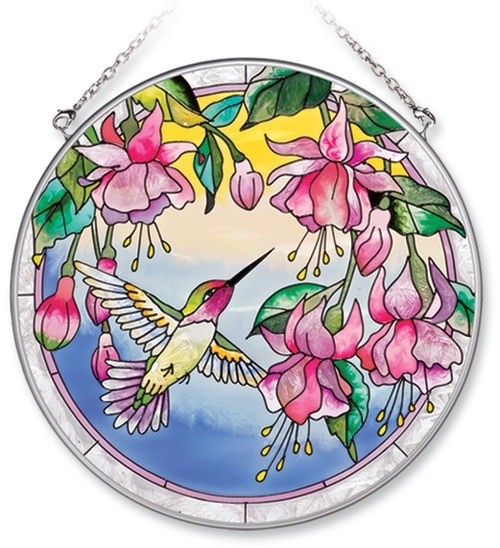 Amia 7205 Dk Blue Hummingbird Large Circle Suncatcher