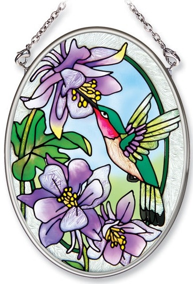 Amia 7213 Hummingbird & Columbine Small Oval Suncatcher