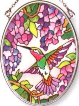 Amia 7241 Hummingbird & Wisteria Small Oval Suncatcher