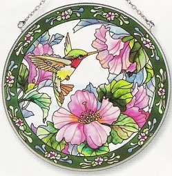 Amia 7256 Hummingbird and Hibiscus Large Circle Suncatcher