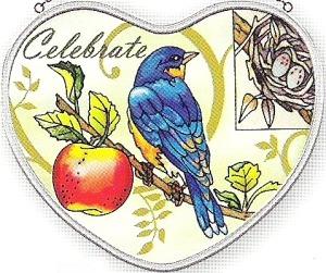 Amia 7333 Bluebird Heart Suncatcher