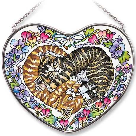 Amia 7369 Heart Kittens Heart Suncatcher