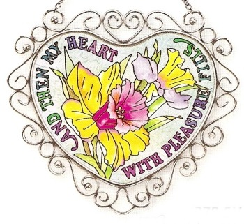 Amia 7378 Daffodil Heart Heart Suncatcher