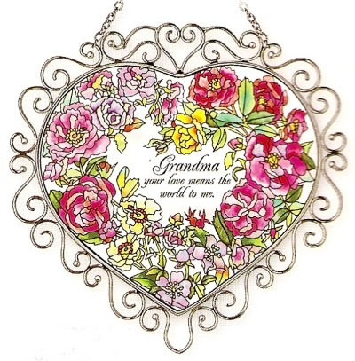 Amia 7385 Original Watercolor Art Heart Suncatcher