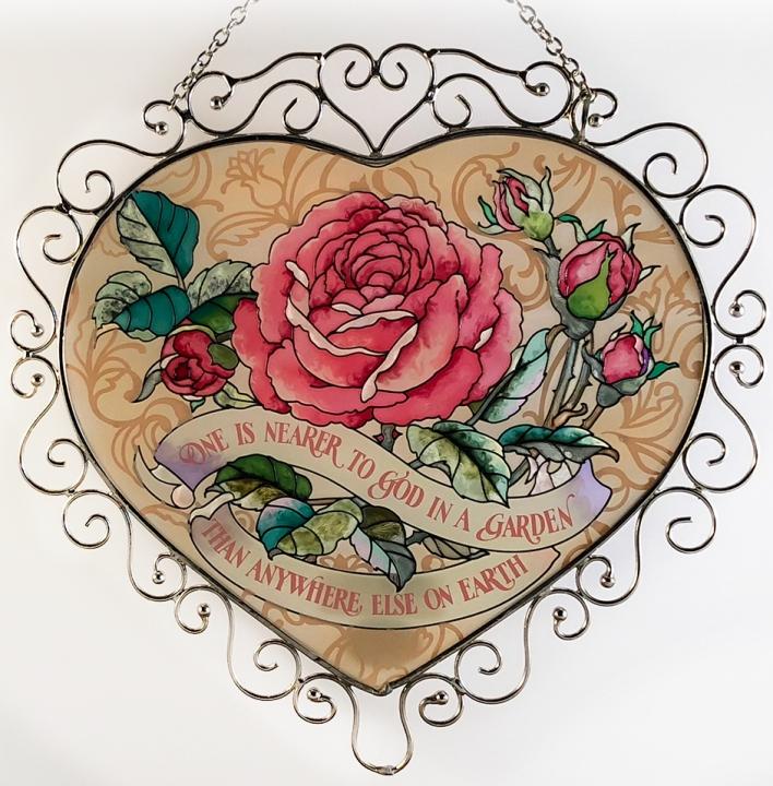 Amia 7388 Rose Heart Suncatcher