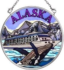 Amia 7395 Cruise Ship Whale Small Circle Suncatcher