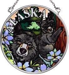 Amia 7399 Black Bear Small Circle Suncatcher