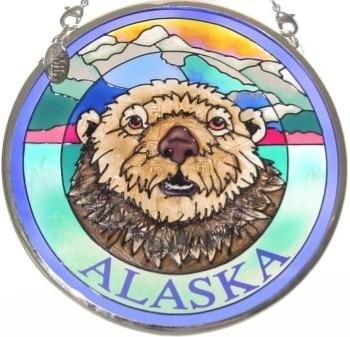 Amia 7402 Alaska Otter Small Circle Suncatcher