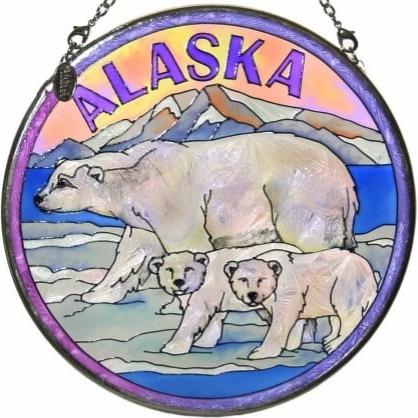 Amia 7404 Polar Bears Medium Circle Suncatcher