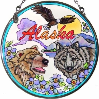 Amia 7405 Alaska Collage Medium Circle Suncatcher