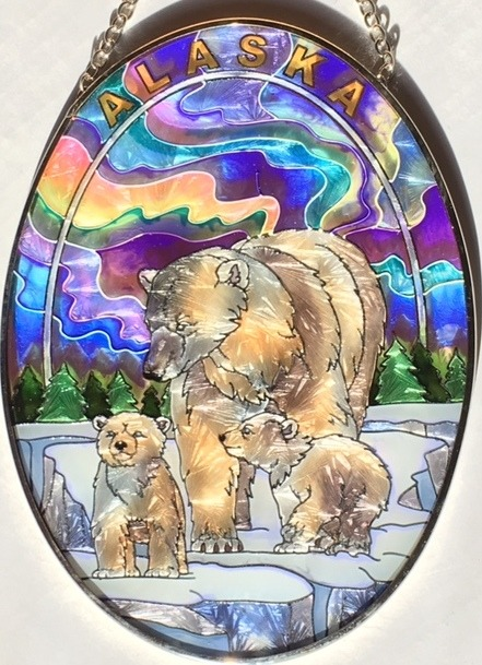 Amia 7415 Polar Bear Northern Lights Medium Oval Suncatcher